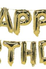 Folieballon happy birthday goud