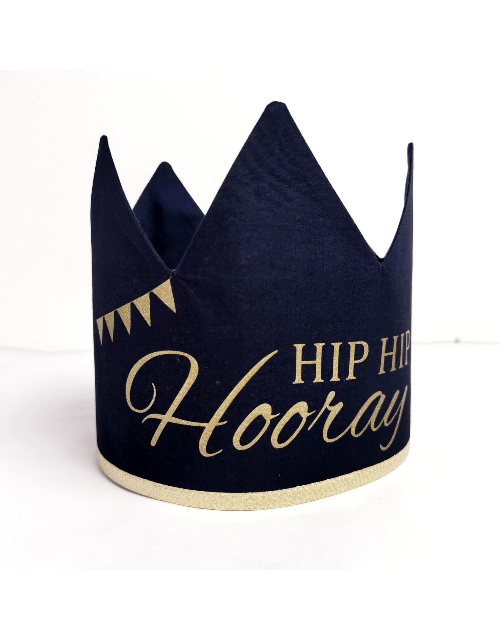 Momof3 Verjaardagskroon hip hip hooray: donkerblauw