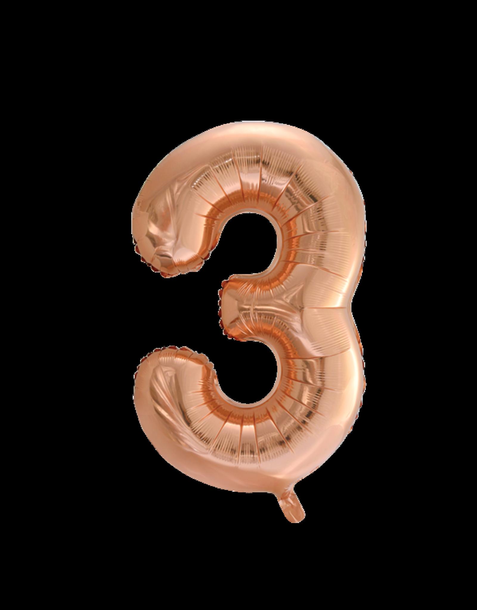 Cijferballon XXL rosé goud / 3