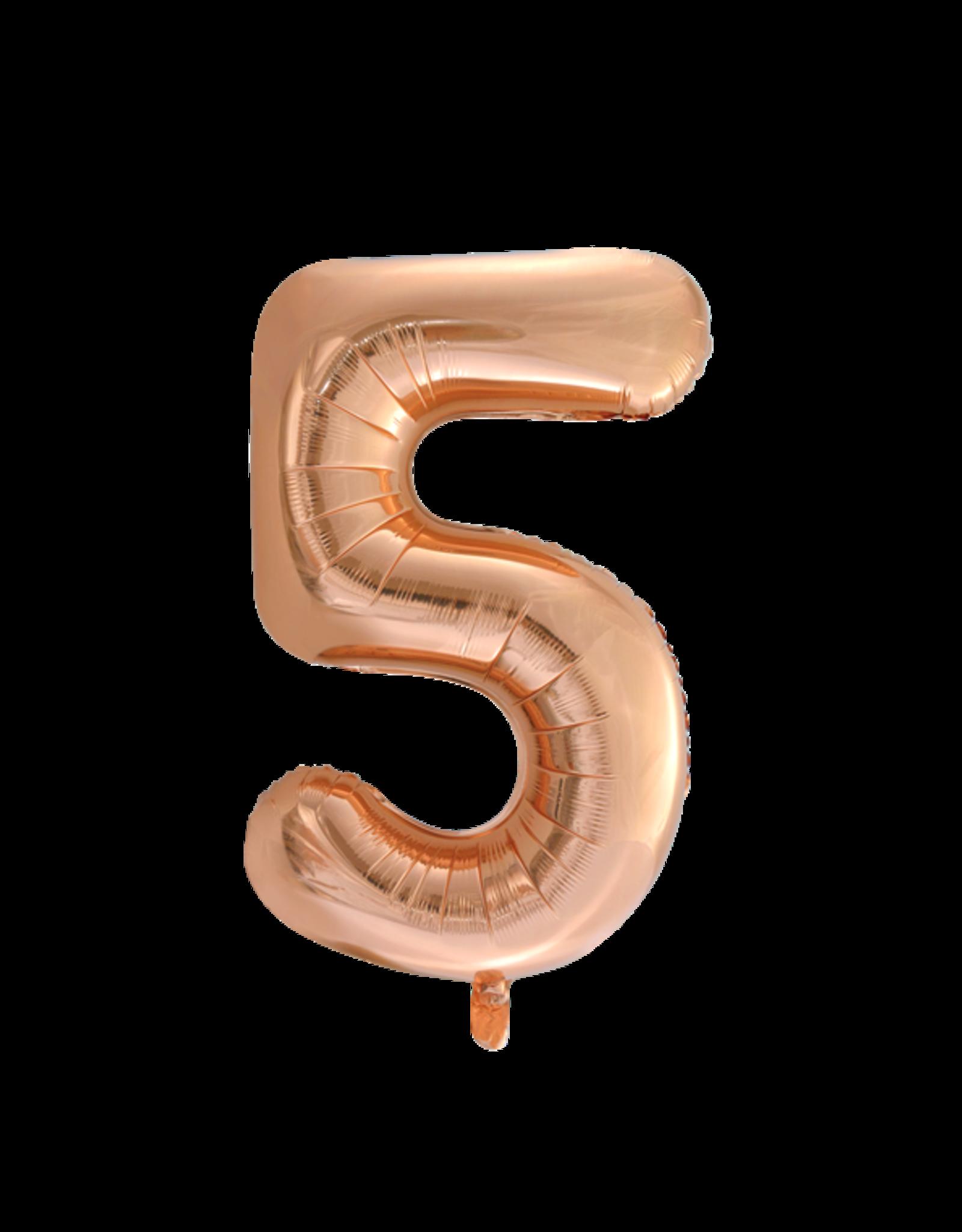 Cijferballon XXL rosé goud / 5