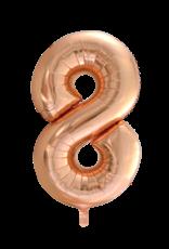 Cijferballon XXL rosé goud / 8