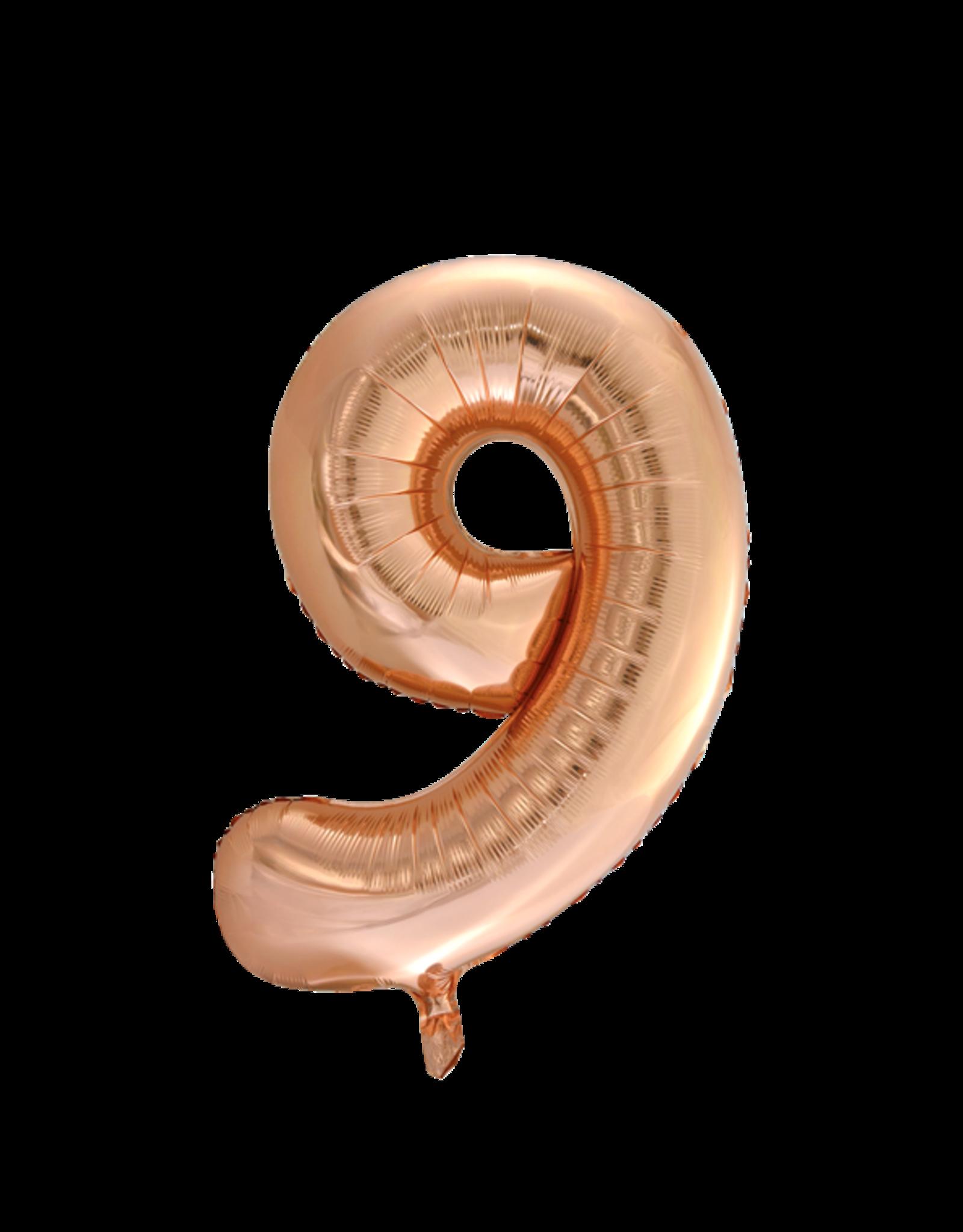 Cijferballon XXL rosé goud / 9
