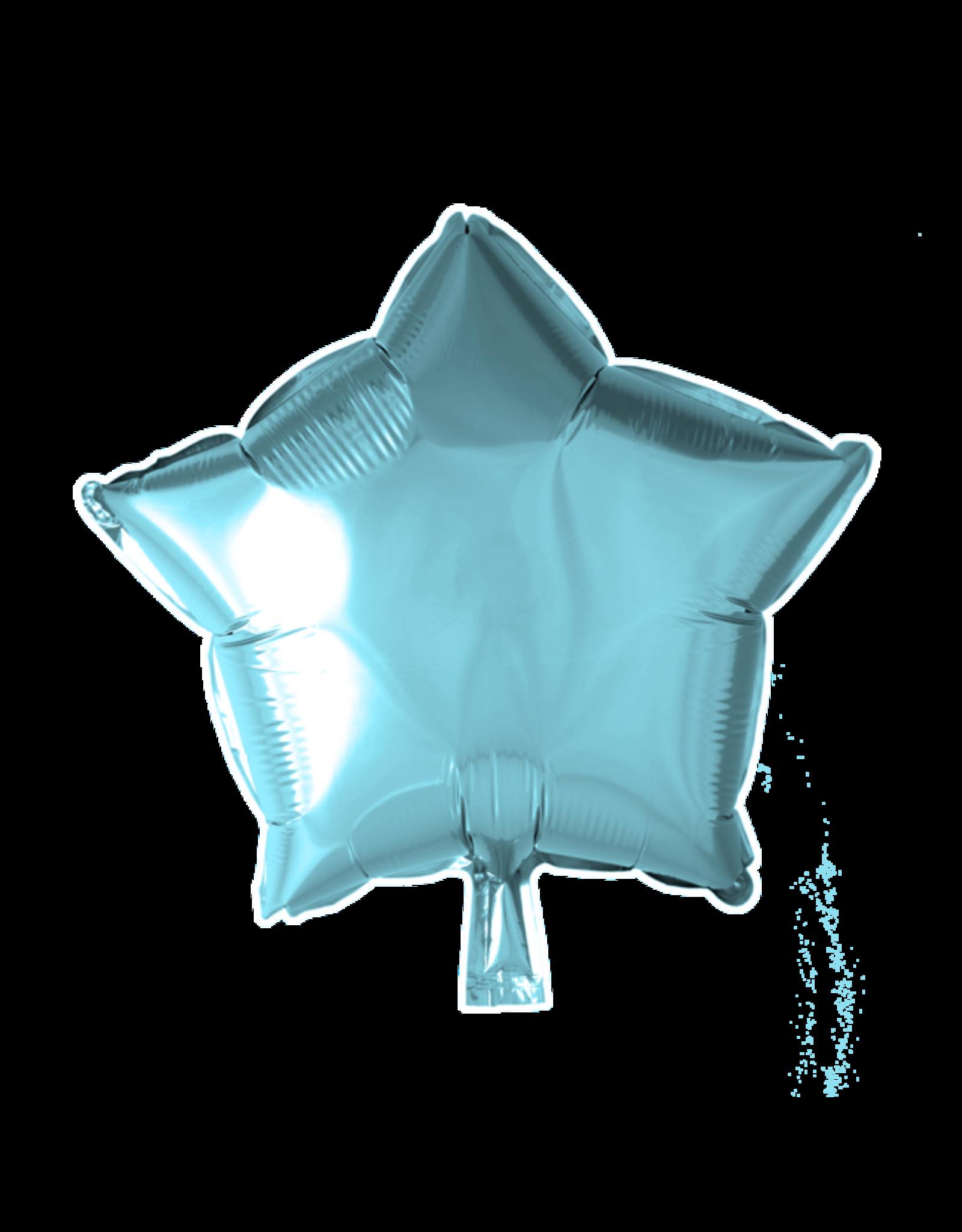 Folieballon ster: ijsblauw