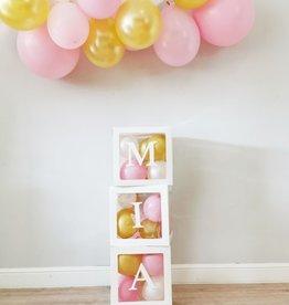 Momof3 DIY Ballonnen box: met naam en eigen kleuren