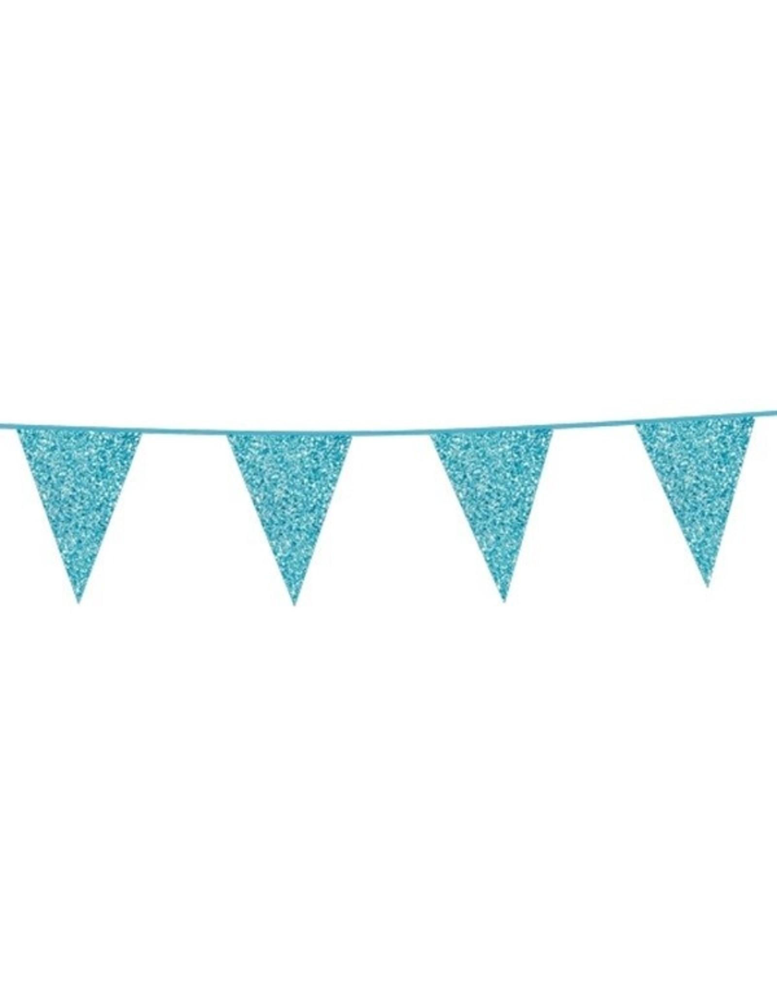 Glitter vlaggenlijn 6m blauw