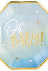 Oh baby bordjes: blauw/goud
