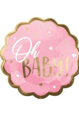 Folieballon: oh baby roos/goud