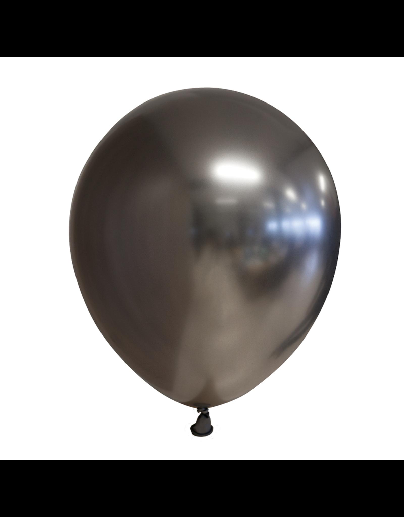 10x Chrome donkergrijze ballonnen