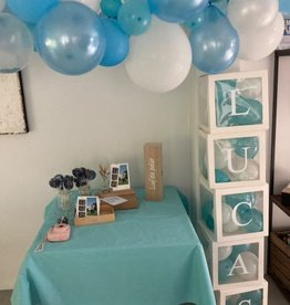 DIY ballonnen blokken met naam: Blauw/wit