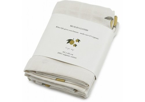 Konges Sløjd Konges Sløjd MUSLIN CLOTHS - LEMON - 3 PACK