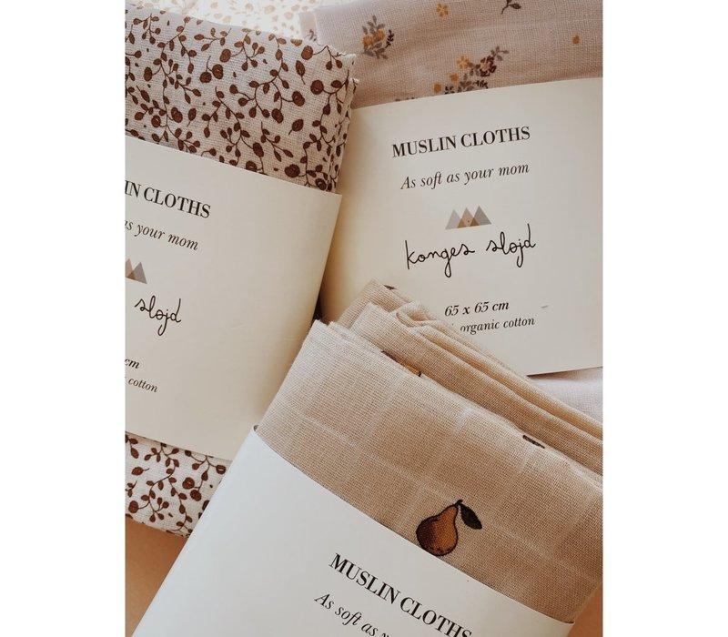 Konges Sløjd MUSLIN CLOTHS - Petit Amour Rose - 3 PACK