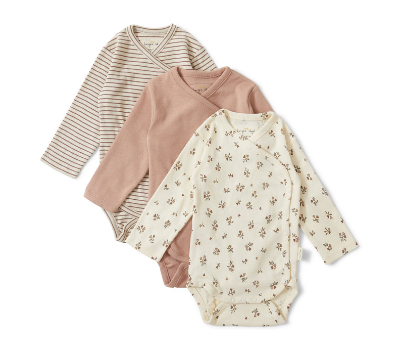 Konges Sløjd Nuevo New Born Body - PETIT AMOUR/STRIPED/BLUSH - 3 PACK