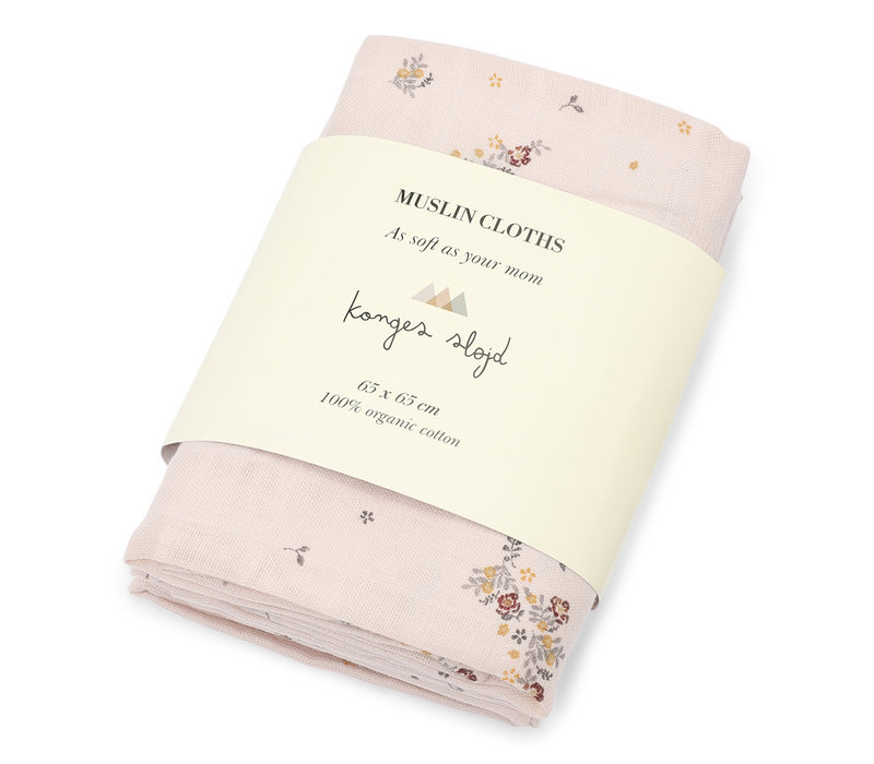 Konges Sløjd MUSLIN CLOTHS -  NOSTALGIE BLUSH - 3 PACK