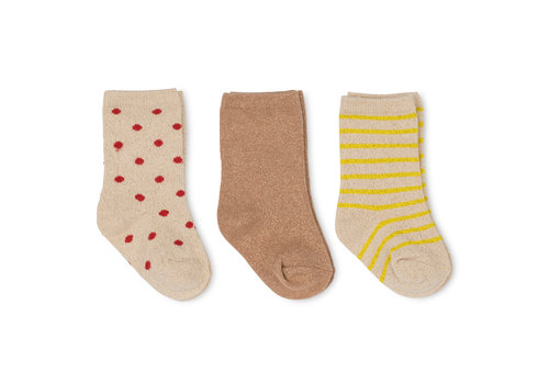 Konges Sløjd Konges Sløjd 3 Pack Lurex Socks -  BLAZING/MACAROON/RED DOT