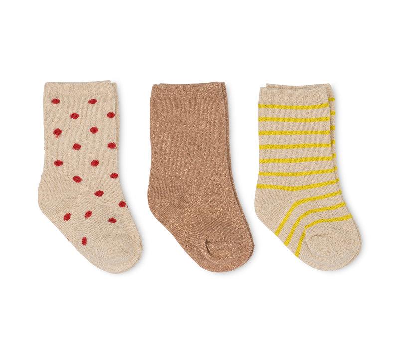 Konges Sløjd 3 Pack Lurex Socks -  BLAZING/MACAROON/RED DOT