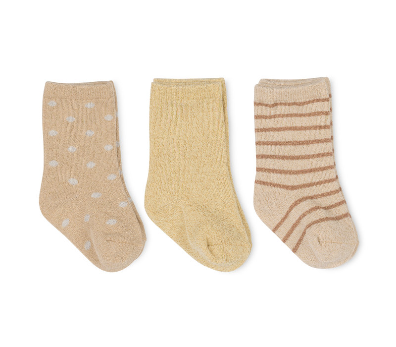 Konges Sløjd 3 Pack Lurex Socks -  MACAROON/GOLDEN HAZE/DOT