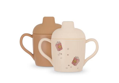 Konges Sløjd Konges Sløjd 2 Pack Sippy Cup - POPCORN/LIGHT BROWN