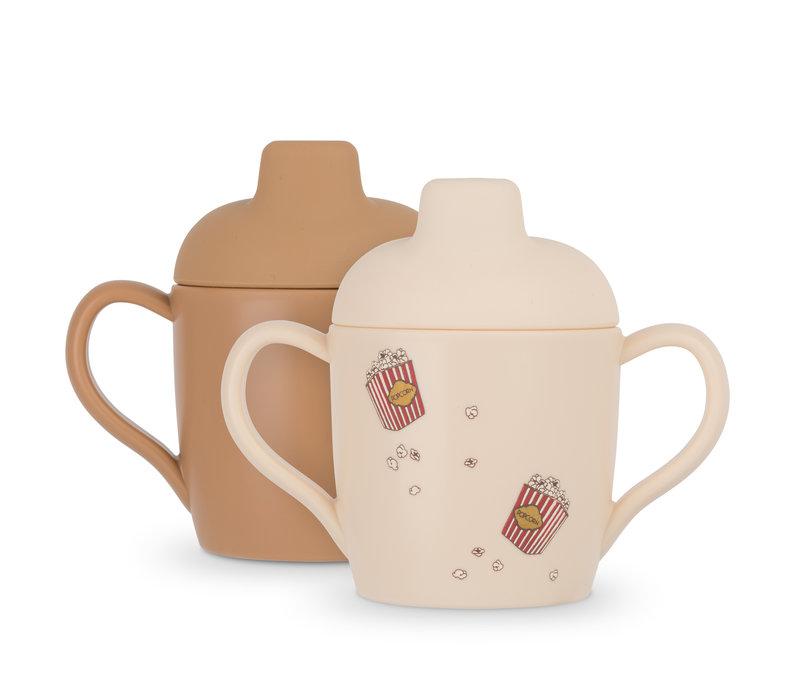 Konges Sløjd 2 Pack Sippy Cup - POPCORN/LIGHT BROWN
