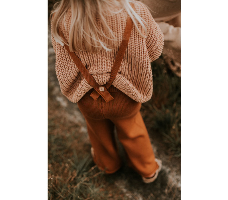 YUKI Knitted Trousers (removable straps) - RUST