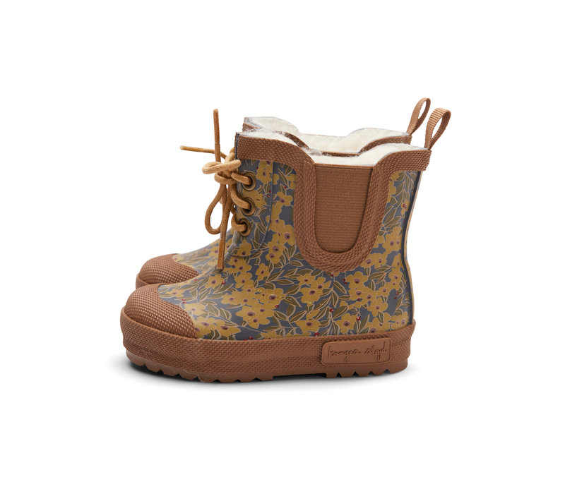 PRE ORDER - Konges Sløjd Thermo Boots Print - WINTER LEAVES MUSTARD