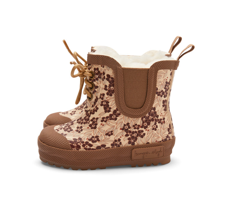 PRE ORDER - Konges Sløjd Thermo Boots Print - WINTER LEAVES DARK RED