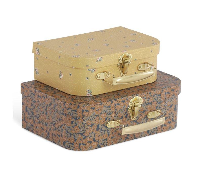 PRE ORDER - Konges Sløjd 2 Pack Luggage  - WINTER LEAVES/FLOWER BOUQUET MUSTARD