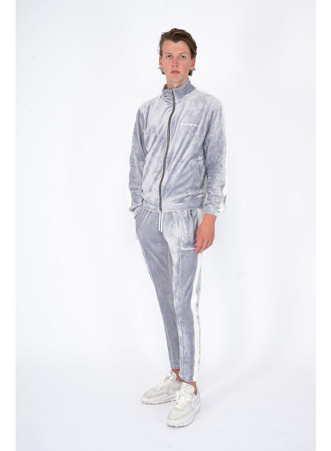 Velour Tracksuit Grey-White