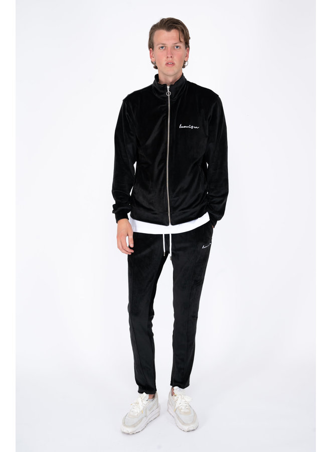Velour Tracksuit Black On Black
