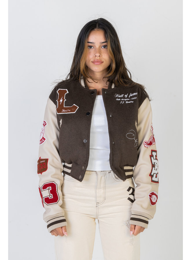 Multi-Patch College Jacket Cropped
