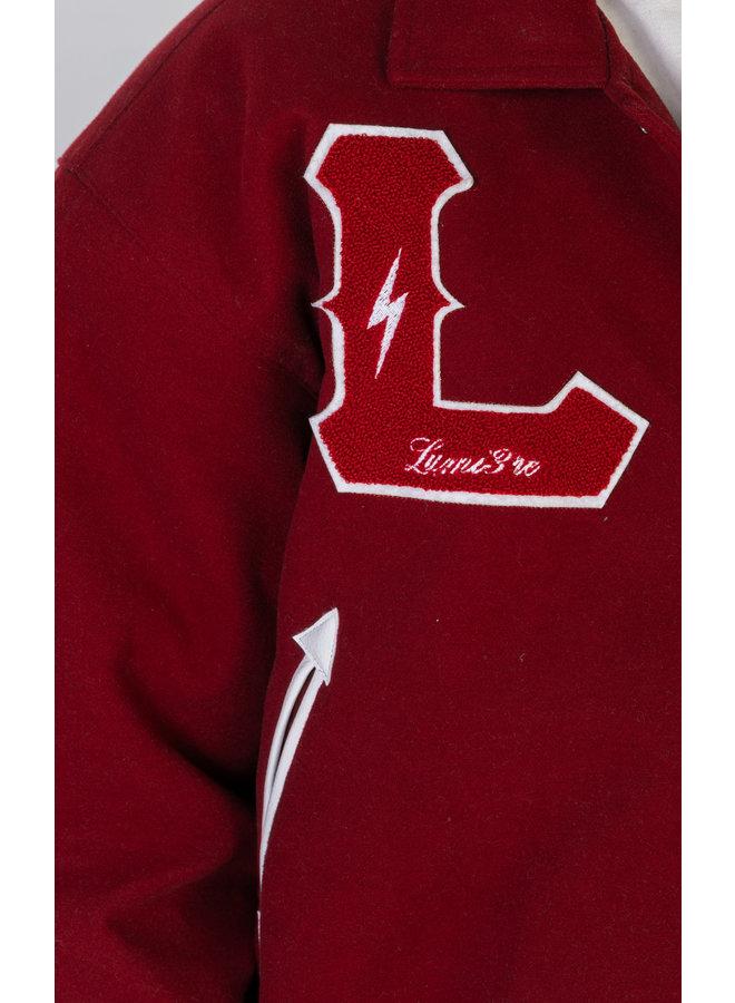 Lumi3re Varsity Jacket Burgundy-Red