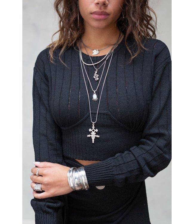 Lois knitted top zwart - in Zwangerschapskleding