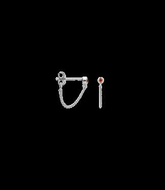 ANNA NINA Enkele Zirconia Stud Chain Earring Oranje Zilver