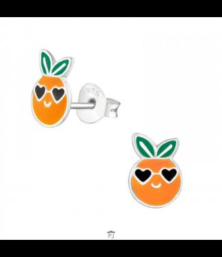 PRECIOUS JEWEL Kinder oorbellen sinaasappel zilver