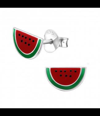 PRECIOUS JEWEL Kinderoorbel halve watermeloen zilver