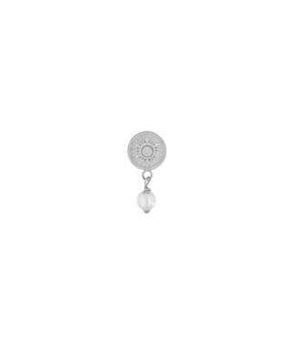 ANNA NINA Single white quarts coin earring