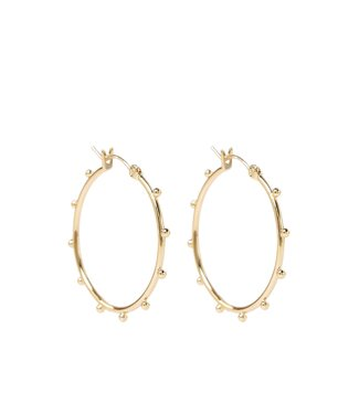 Orelia Oorbellen Metal Beaded Hoop Earrings Goudkleurig