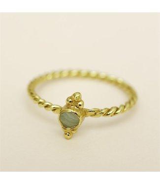 MUJA JUMA Gold Plated Turquoise Ring Maat 52