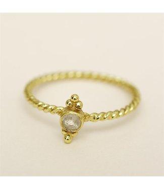 MUJA JUMA Gold Plated Blue Calcedonite Ring Maat 52