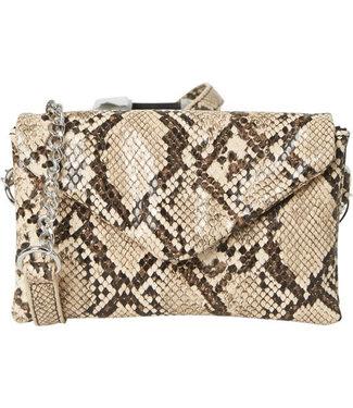 PIECES Snake crossbody bag beige