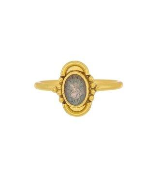 MUJA JUMA Gold Plated Labradorite Ring Maat 52