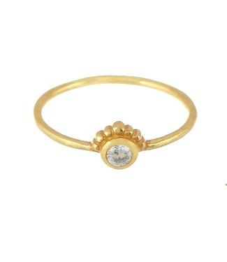 MUJA JUMA Gold Plated White Zarkonia Ring Maat 54
