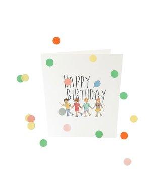 The Giftlabel Confettiekaart - happy birthday