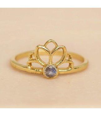 MUJA JUMA Gold Plated Ring Labradorite Lotus Maat 52