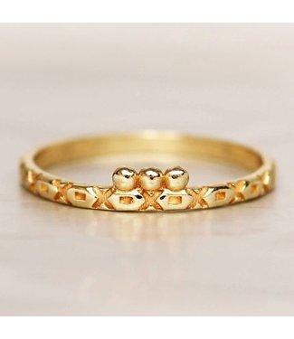 MUJA JUMA Gold Plated Ring Three Dots Crosses And Squares Maat 54