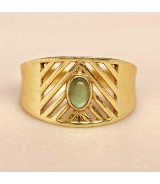 MUJA JUMA Gold Plated Ring Nefrite Oval Stone Maat 52