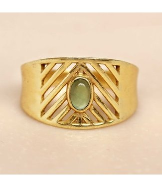 MUJA JUMA Gold Plated Ring Nefrite Oval Stone Maat 54