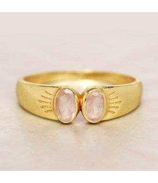 MUJA JUMA Gold Plated Ring Rose Quartz Two Oval Stones Maat 52