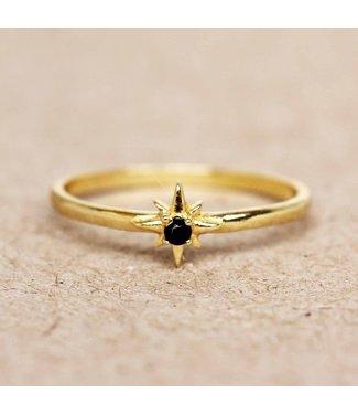 MUJA JUMA Gold Plated Ring Black Agate Star Maat 52