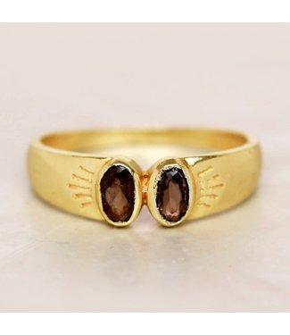 MUJA JUMA Gold Plated Ring Smokey Quartz Two Oval Stones Maat 52