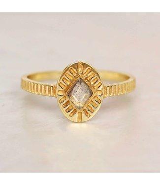 MUJA JUMA Gold Plated Ring Labradorite Diamond Striped Maat 52